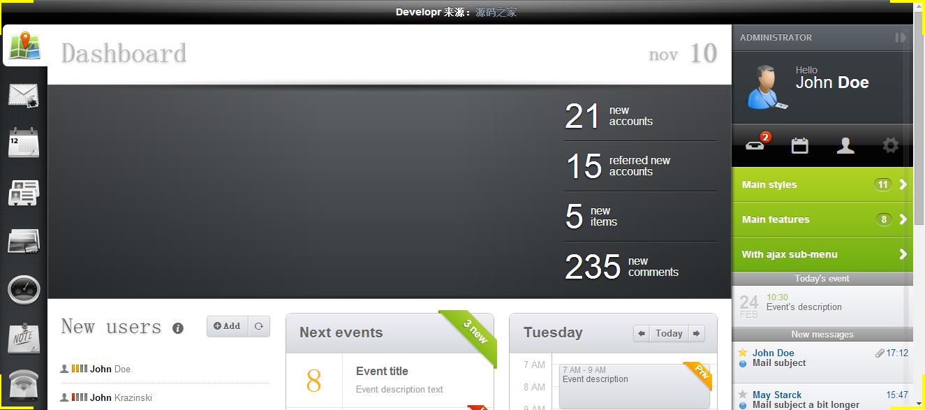 Developr响应式HTML5后台管理模板